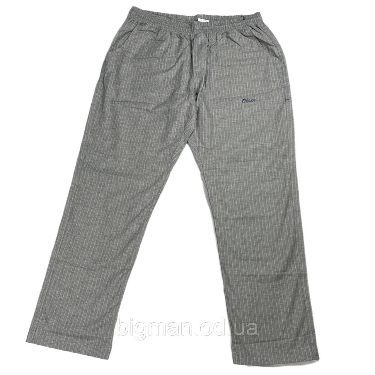 Чоловічі бавовняні штани Olser 18038 6XL 7XL 8XL 9XL 10XL 11XL 12XL 13XL сірі Туреччина батал великий розмір