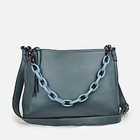 Кожаная женская сумка с цепью средняя голубая 15160
