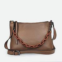Женская сумка с цепью светло-коричневая кожаная 15160