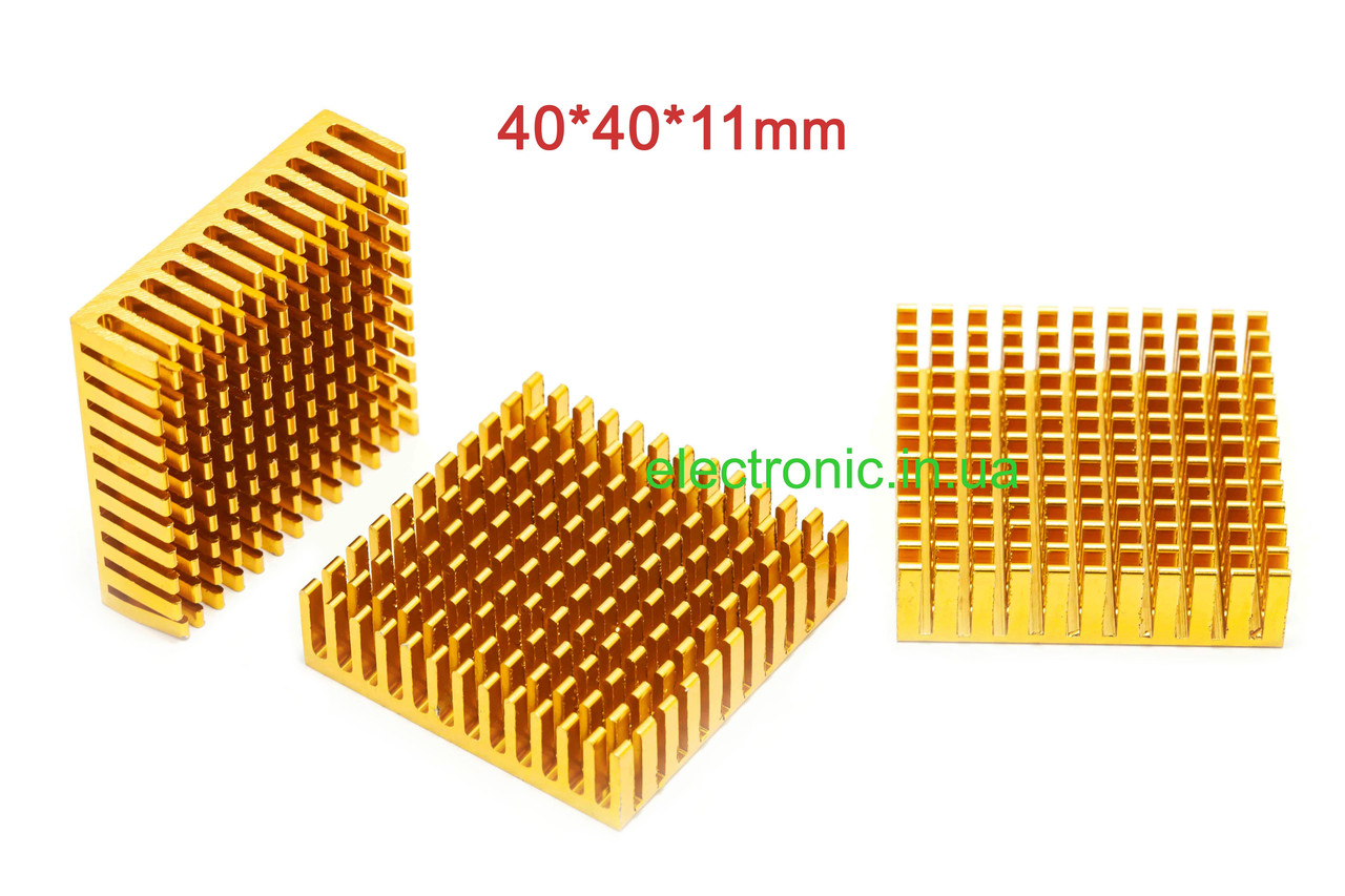 Радіатор алюмінієвий 40*40*11 мм, колір золотистий.