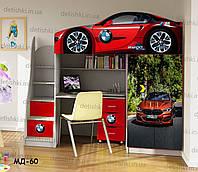 """Кровать чердак  """" БМВ красный """" + цельная наклейка на шкаф"""