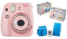 Камера моментальной печати Fujifilm Instax Mini 9 светло-розовая + рамка + чехол + альбом