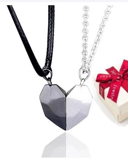 Парні кулони серця на магніті срібло 925 + коробочка