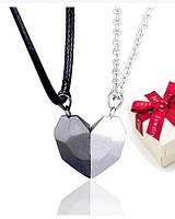 Парні кулони серця на магніті срібло 925 + коробочка, фото 1