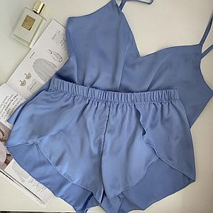 Шовкова піжама з шортиками жіноча Orli Diva XL, Блакитний