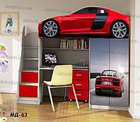 """Кровать чердак  """" Ауди красная """" + цельная наклейка на шкаф"""