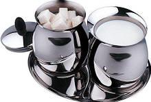 Молочник+сахарница Vinzer нержавейка, Молочник с сахарницей из нержавейки, Молочник и сахарница для чаепития