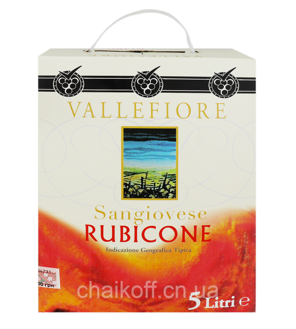 Вино Vallefiore Sangiovese Rubicone червоне сухе 11% 5 л (Італія)