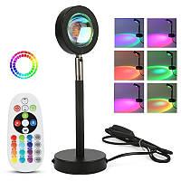 Sunset Lamp RGB c пультом - проекционный светильник заката, рассвета, usb led - Черный