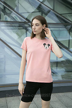 Футболка Женская хлопок розовая с принтом Mickey Mouse микки маус