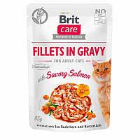 Brit Care Fillets in Gravy Savory Salmon влажный корм с пикантным лососем для котов