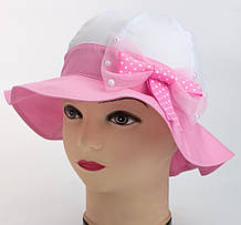 Хлопковая шляпка панама белая с розовым полем и бантиком