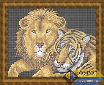 Схема для вышивки бисером картины Тигр и лев (ЖБп3-014)