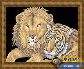 Схема для вышивки бисером картины Тигр и лев (ЖБч3-015)