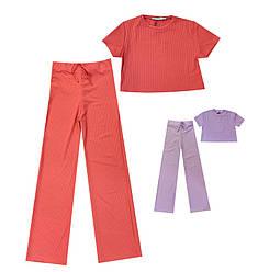 Летний костюм для девочки: топ с коротким рукавом и штаны, Enjoy (размер L)