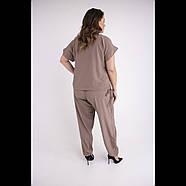 / Размер 54,56,58,60,62. / Женский летний штапельный костюм большого размера / Жасмин бежевый, фото 2