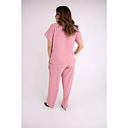 / Размер 54,56,58,60,62 / Женский летний штапельный костюм большого размера Амелия / цвет розовый, фото 2