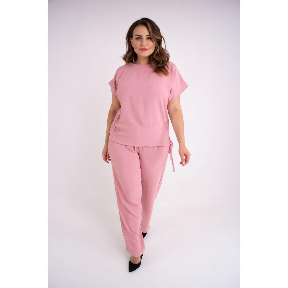 / Размер 54,56,58,60,62 / Женский летний штапельный костюм большого размера Амелия / цвет розовый