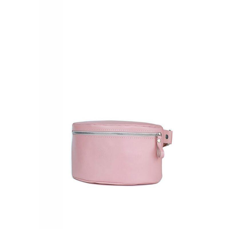 Женская кожаная поясная сумка розовая гладкая