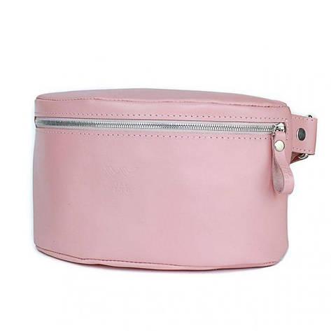Женская кожаная поясная сумка розовая гладкая, фото 2