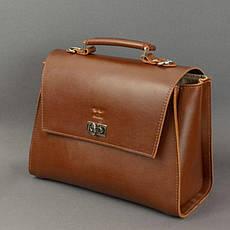 Женская кожаная сумка Classic светло-коричневая, фото 3