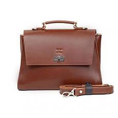 Жіноча шкіряна сумка Classic світло-коричнева, фото 3
