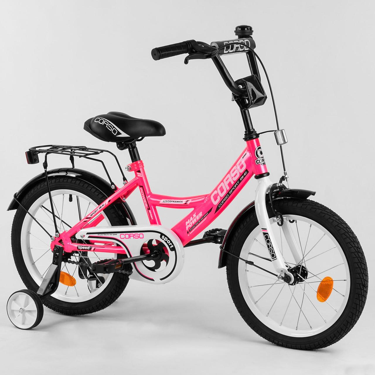 Велосипед дитячий для хлопчика дівчинки 5 6 7 років колеса 16 дюймів Corso CL-16804