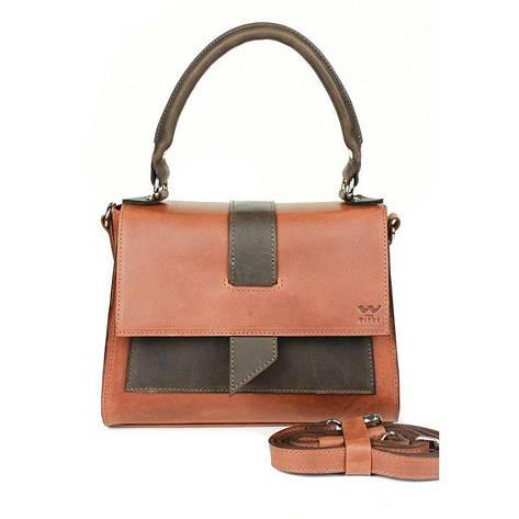 Женская кожаная сумка Ester коньячно-коричневая винтажная, фото 2