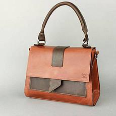 Женская кожаная сумка Ester коньячно-коричневая винтажная, фото 3