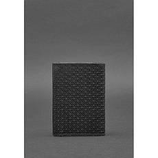 Кожаная обложка для паспорта 2.0 Карбон черная, фото 3