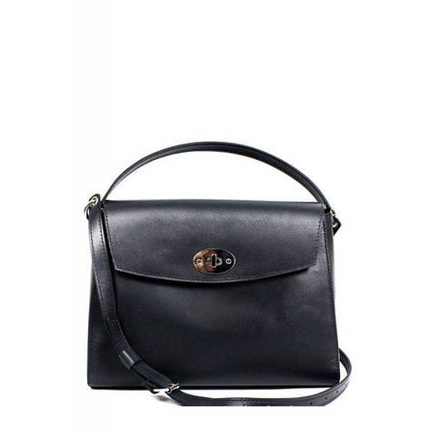 Женская кожаная сумка Iris черная, фото 2