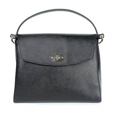 Женская кожаная сумка Iris черная сафьян, фото 2