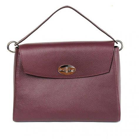 Женская кожаная сумка Iris бордовая флотар, фото 2