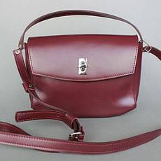 Женская кожаная мини-сумка Eve бордовая, фото 2
