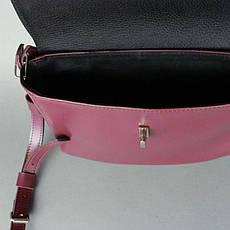 Женская кожаная мини-сумка Eve бордовая, фото 3