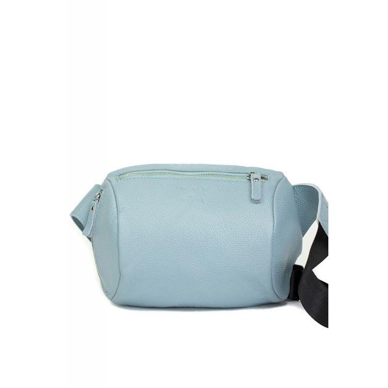 Кожаная поясная сумка Easy голубая флотар