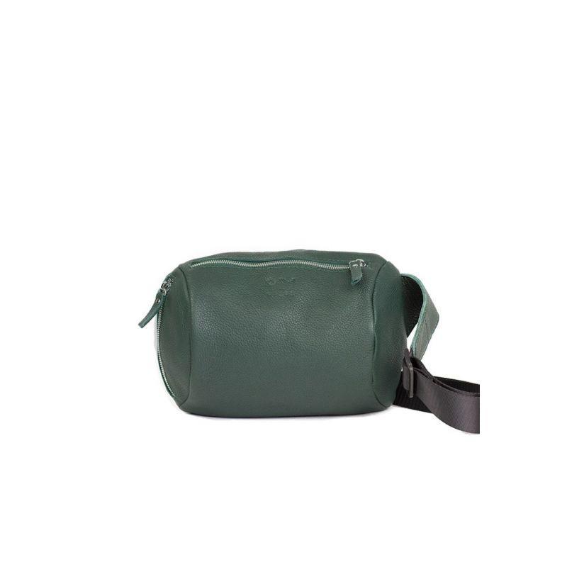 Шкіряна поясна сумка Easy темно-зелена флотар