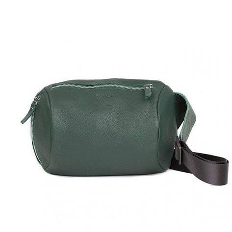 Шкіряна поясна сумка Easy темно-зелена флотар, фото 2