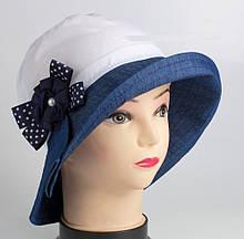 Шляпка панама хлопковая для девочки белая с джинсовым полем 52 54