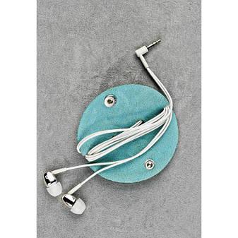 Кожаный холдер для наушников бирюзовый, фото 2