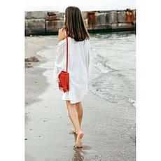 Шкіряна жіноча сумка з бахромою міні-кроссбоди Fleco червона, фото 2