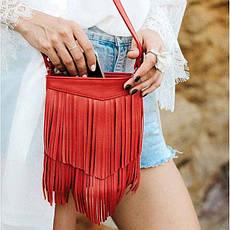 Шкіряна жіноча сумка з бахромою міні-кроссбоди Fleco червона, фото 3