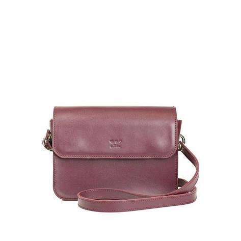 Женская кожаная мини сумка Moment бордовая, фото 2