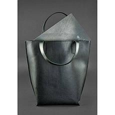 Шкіряна жіноча сумка шоппер D. D. чорна, фото 3