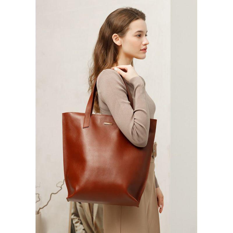 Шкіряна жіноча сумка шоппер D. D. світло-коричнева