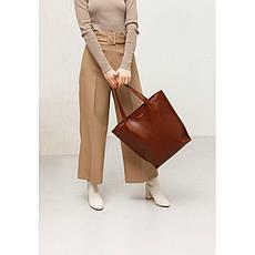Шкіряна жіноча сумка шоппер D. D. світло-коричнева, фото 2