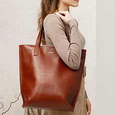 Шкіряна жіноча сумка шоппер D. D. світло-коричнева, фото 3