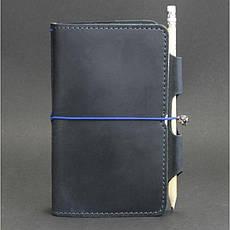 Шкіряний блокнот (Софт-бук) 3.0 синій, фото 3