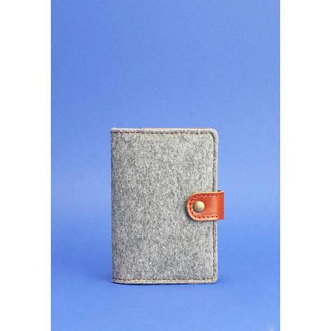 Фетровая обложка для паспорта 3.0 с кожаными коричневыми вставками, фото 2