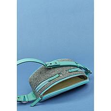 Фетровий жіноча поясна сумка Spirit з шкіряними бірюзовими вставками, фото 3